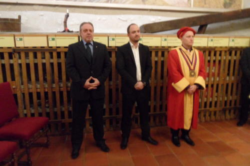 Frairie de printemps au château de Boudry - cérémonie des intronisations: Pierre-André Perrenoud, Benoit de Montmollin et Yannick Butin.