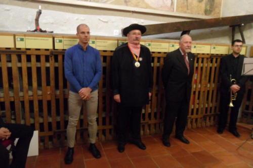 Frairie de printemps au château de Boudry - cérémonie des intronisations: Vincent Michaud, Bernard Schwarzenbach et Alain Geiser.