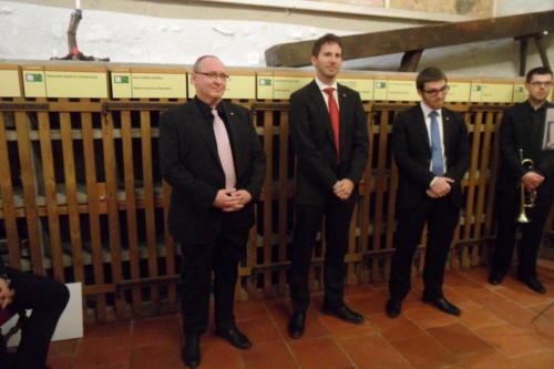 Frairie de printemps au château de Boudry - cérémonie des intronisations: Roger Muhlethaler, Jonathan  Gretillat et Matthieu Lavoyer.