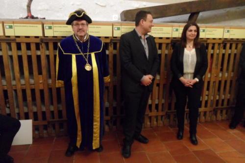 Frairie de printemps au château de Boudry - cérémonie des intronisations: Pierre-André Triponez, Jean-Natanaël Karakash et Claudia Glauser.