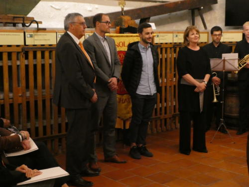 Frairie de printemps au Château de Boudry - cérémonie des intronisations: Roland Spring, Quentin Divernois, Jules Aubert et Anja Kuntzer.