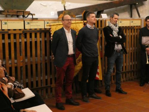 Frairie de printemps au Château de Boudry - cérémonie des intronisations: Johannes Rösti, Léo Kienholz et Yann Huguelit.