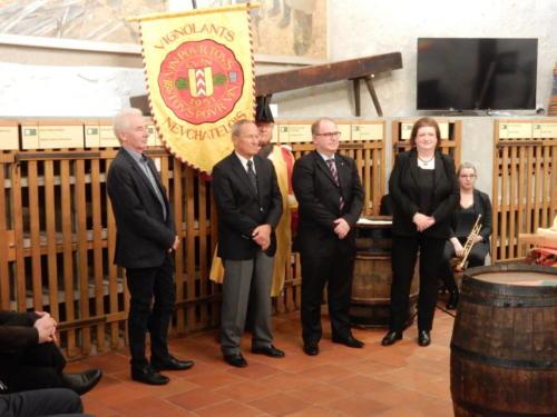 Frairie de printemps au château de Boudry - cérémonie des intronisations: Walter von Gunten, Manfred Speck, Alain Rapin et Nicole Muhlethaler.